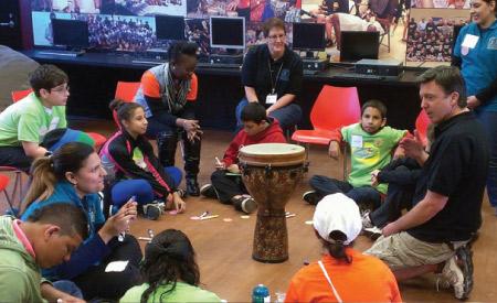 camp kangaroo kids in a circle