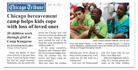 Chicago Tribune Article on 20 children work through grief at Camp Kangaroo